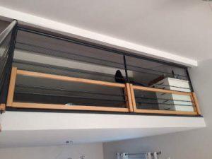 garde corps métal avec cadre bois