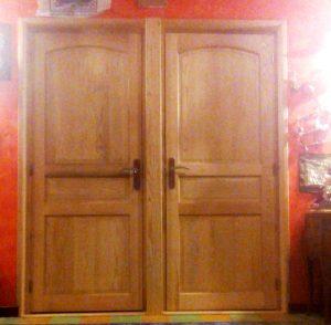 porte en frêne, trois panneaux
